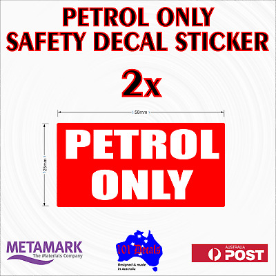 2x50mm PETROL ONLY stickers.Car,4x4,motorbike,vehicle,machinery.Fuel resistant!
