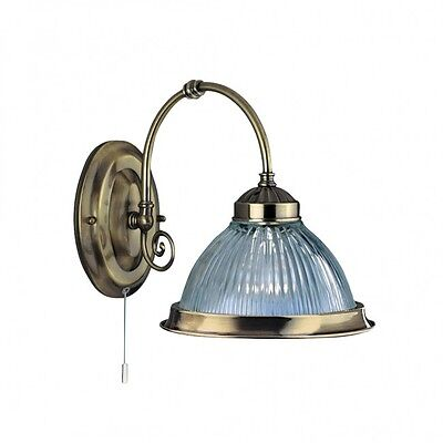 9341-1 American Diner Antique Brass Wall Light with Ribbed Glass and Switch