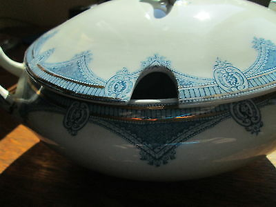 VINTAGE IPSWICH  NOTCH/COVERED SOUP TUREEN BY J & G MEAKIN FLOW BLUE