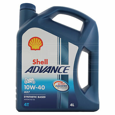 Shell Advance AX7 10W-40 Four-Stroke Motorcycle 4T 10W40 Engine Oil 4 Litres 4L