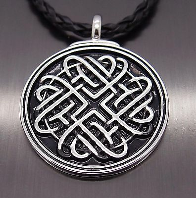 "Celtic Infinite Heart Knot Pewter Amulet Pendant with 20"" Free Necklace PP#274"
