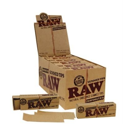24 Raw Natural Gummed Tips Perforated Cigarette Rolling Paper Chemical Free NIB