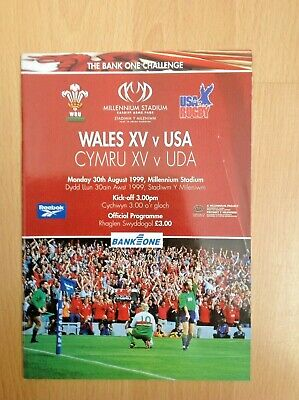 Wales XV v USA 1999 Rugby Programme