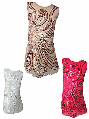 Girls Stunning Party/Casual Sequin Flower Swirls Dress Sparkly/Glitzy 3Y-12Years