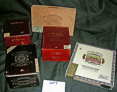 Mixed Style Cigar Boxes - Lot of 5