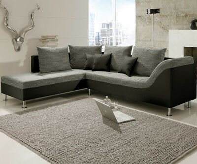 ecksofa claudia wohnlandschaft ottomane links sofa mit hocker webstoff grau eur 399 95. Black Bedroom Furniture Sets. Home Design Ideas