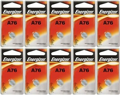 10 Energizer A76 LR44 AG13 L1154 G13 V13GA Alkaline Button Batteries Fresh