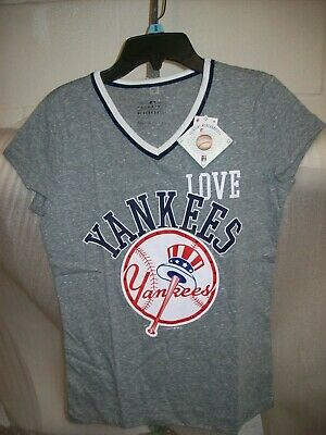 Girls Justice New York Yankees Heather V Neck Top Multiple Sizes Nwt Msrp$34.90