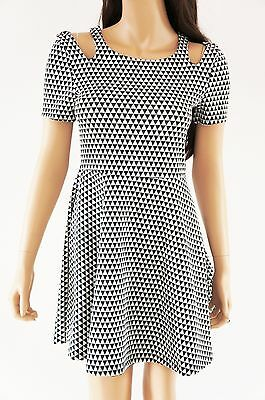 Skater Skirt Dress Geo Print Slash Hole Shoulder Cut Out Black White - S M L a3494ddc1