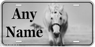 White Horse B&W Aluminum Personalized Novelty Car Tag License Plate