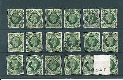 wbc. - GB  - GEORGE V1 - 1937 -G677- DEFINITIVES - 9d VALUE x 18 copies - USED