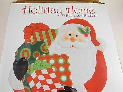 """8"""" Fitz & Floyd Holiday Home Santa Canape Plate """"It's a Wrap""""  Mint in Box"""