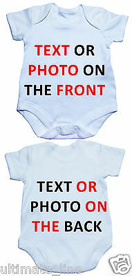 Personalised Custom Baby Body Suit Soft Cotton printed text or picture White