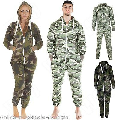 New Mens Womens Ladies Camouflage All In One Jumpsuit Nightwear Pyjama Plus Size