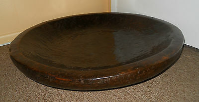 ANTIQUE Vintage Rare Large Round Dough Bowl Hand Carved  Solid Wood ART