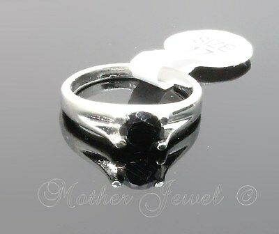 6Mm Black Womens Girls Ladies Sterling Silver Plated Ring Small Large Big Xs