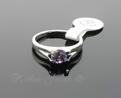 6Mm Purple Womens Round Solitaire Sterling Silver Plated Ring Small Large Xs