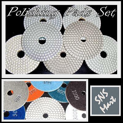 "Diamond Polishing Pads 4"" Wet/Dry Set EVA backer pad for Granite Stone Polishing"