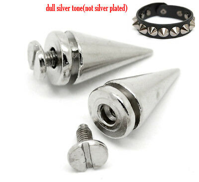 Spike Cone Screwback Silver Studs Rivet Punk Leather Bag Clothes Shoes Craft Diy