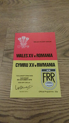 Wales XV v Romania 1979 Rugby Programme