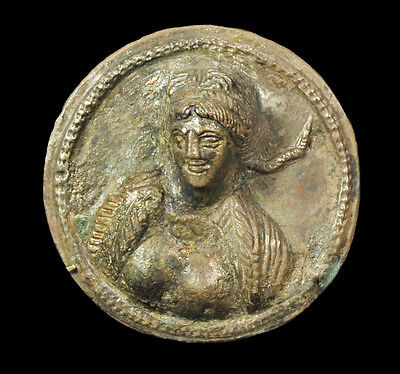 Aphrodite- Ancient Thracian Silver Roundel With The Bust Of A Goddess