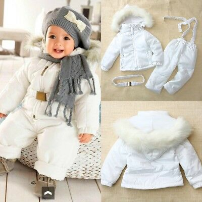 Baby Boy Girl Winter Warm White Snowsuits Jacket Coat+Pant Set Cloth 6 12 18 24M