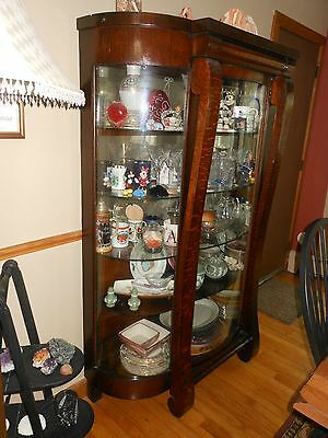 antique china curved glass china cabinet