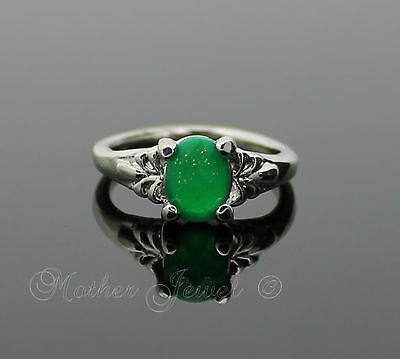 Emerald Green Gold Glitter Sparkle Girls Womens Ladies Size Silver Dress Ring