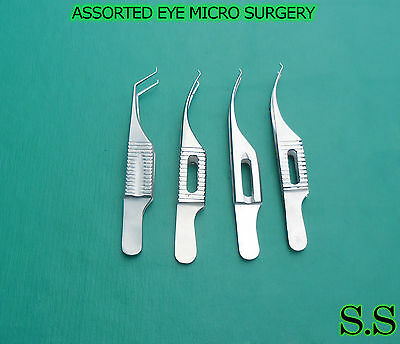 4 Pcs Assorted Eye Micro Surgery Surgical Ophthalmic Colibri Forceps Instrument