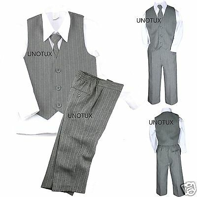 New 4PC Vest Set Baby Toddler Boy Pinstripe Formal Wedding Tuxedo Suit Gray S-20