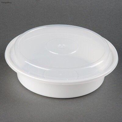 """24oz. VERSAtainer 7""""Round White Microwavable Containers w/ Clear Lids 150ct"""