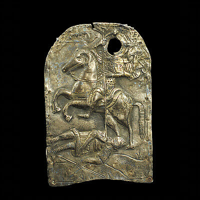 Aphrodite- Greek Silver Oklad (Cover Of An Icon) Depicting St. Demetrios, 19Th C