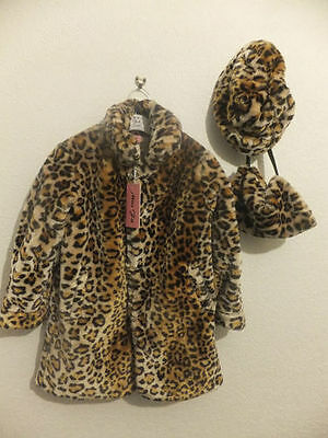 Brand New Girl's  3Pc Leopard Print Faux Fur Coat Free Hat- Sizes 2-10 Years Old