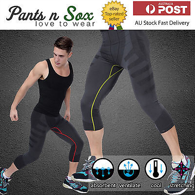Mens 3/4 Black Compression Gym Legging Skins Exercise Leggings Running Pants M L