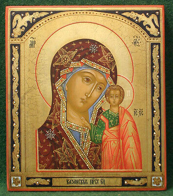 RUSSIAN TEMPERA PAINTED ICON: MOTHER of GOD of KAZAN