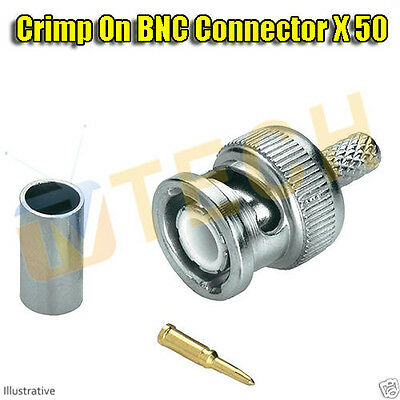 Crimp BNC RG59 Coaxial Connector Adapter For CCTV Camera DVR Plug X50