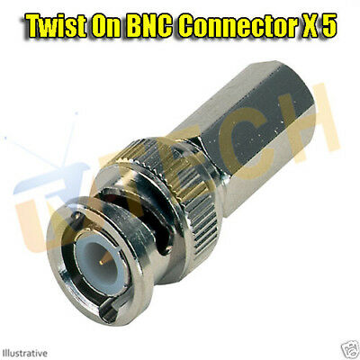 5 x BNC Twist On Male Plug End for RG59 CCTV Security Camera Cable Connector