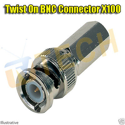 100 x BNC Twist On Male Plug End for RG59 CCTV Security Camera Cable Connector