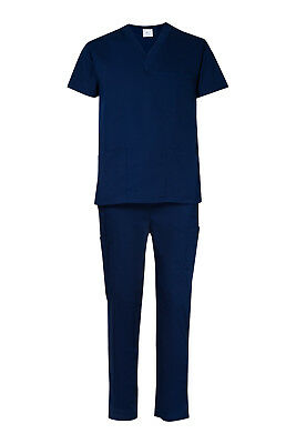Medical Nursing Vet UNISEX Navy Blue Scrub Set Scrubs - Fast ship from MELBOURNE