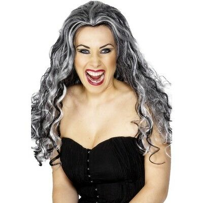 Womens Ladies Long Grey & Black Gothic Vamp Wig Halloween Horror Movie Witch