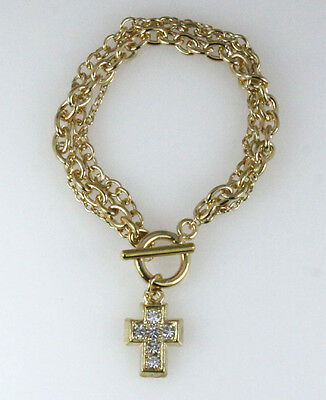 4030308 Gold Plated Chain Bracelet with CZ Cubic Zirconia Gold Cross Toggle C...