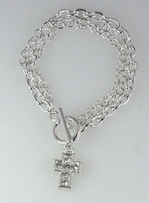 4030309 Silver Plated Chain Bracelet with CZ Cubic Zirconia Silver Cross Togg...