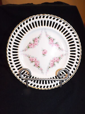 Vintage Open Edge 8 3/8 Inch Plate Germany Pink Floral Pattern