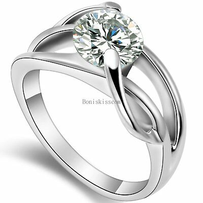 Stainless Steel Cubic Zirconia Infinity Ring Womens Bridal Wedding Band Size 5-9