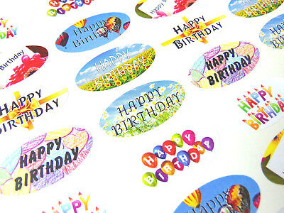 Happy Birthday Oval Seal Labels, Stickers for Gift Wrapping, Cards-SOV HB MIX/48