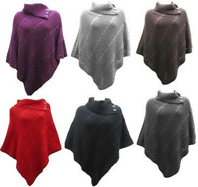 3fe45c3a4f1 New Ladies Knitted Poncho 3 Button Cable Cape Jumper Top Retro plus size