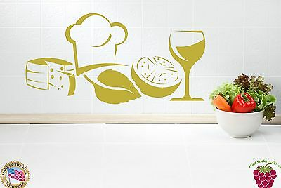 Wall Stickers Vinyl Decal For Kitchen Food Restaurant Chef Wine z1159