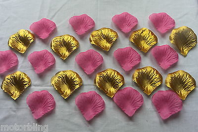100 x PINK AND GOLD SILK ROSE PETALS WEDDING CONFETTI TABLE DECORATION