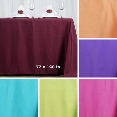 "12 pcs 72x120"" RECTANGLE POLYESTER TABLECLOTHS Wedding Party Tabletop Supplies"