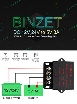 SUPERNIGHT® 15W 12V/24VDC to 5VDC 3A Step Down Regulator Converter